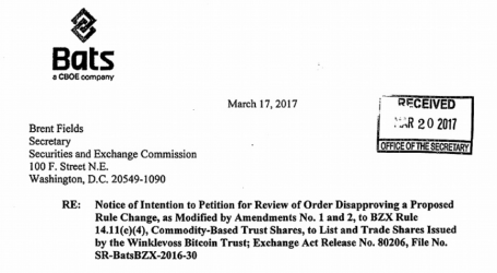 BATS to file petition against SEC rule change disapproval for COIN Bitcoin ETF
