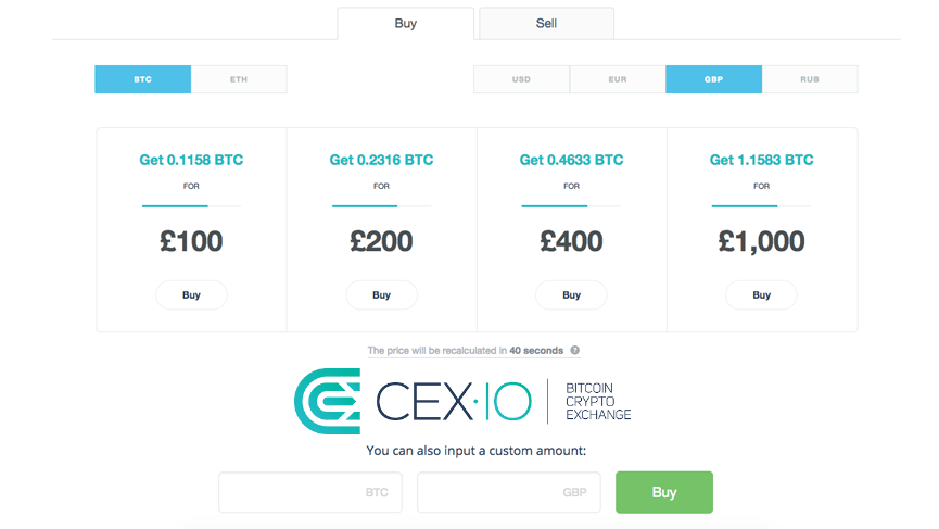 Cryptocurrency Exchange CEXIO Adds GBP To Simplified Bitcoin Buying Interface
