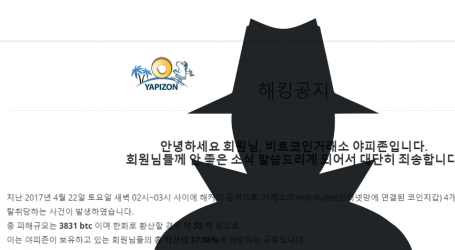 South Korean bitcoin exchange Yapizon hacked for 3831 BTC
