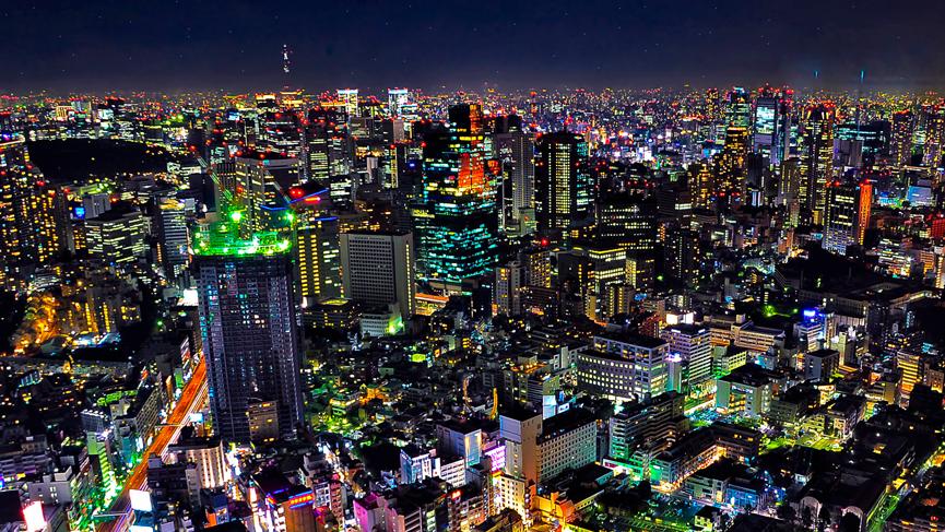 Tokyo, Japan at night.