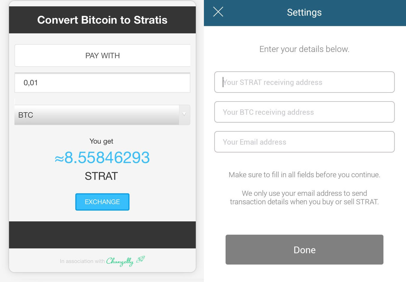 Changelly integrated into official Stratis platform app