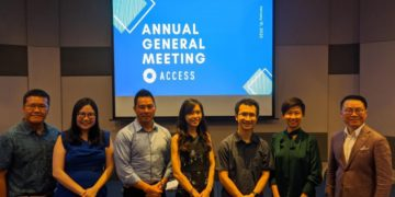 The incoming ACCESS Board. Pictured from left to right: Mr. Jarrod Luo, Ms. Grace Chong, Mr. Aga Manhao, Ms. Katherine Ng, Mr. Anson Zeall, Mrs. Zann Kwan, Mr. Yu Sarn Chiew