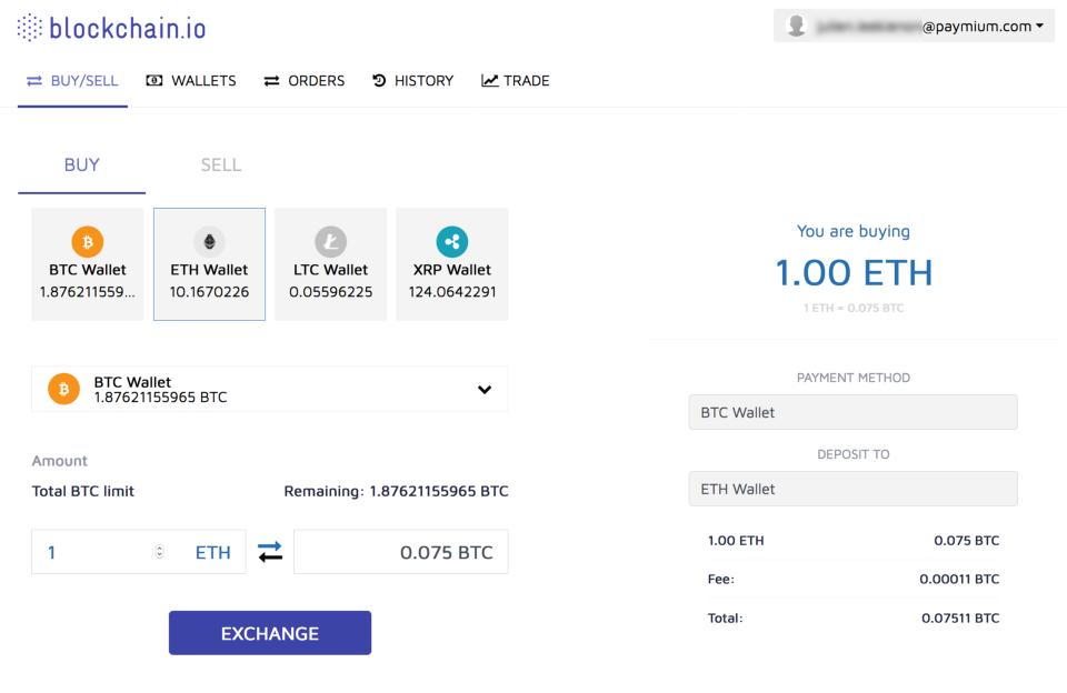 Blockchain.io cryptocurrency exchange MVP now live