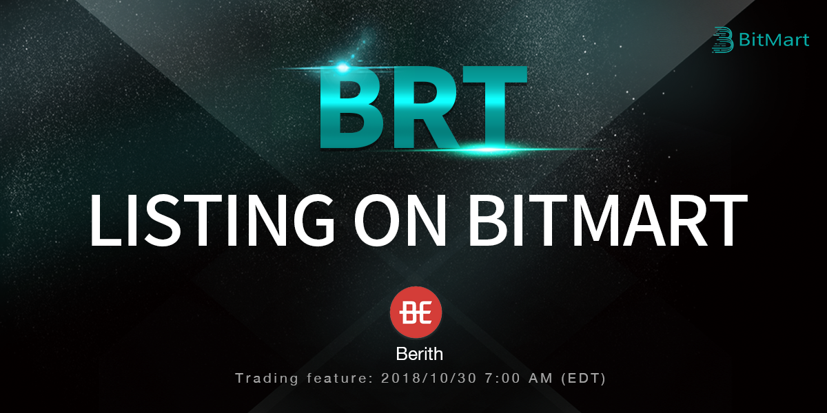 BitMart Lists ERC20 Token Berith (BRT), an Integrated Business Platform
