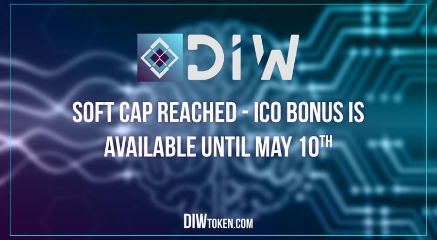 DIWtoken.com soft cap reached; 31% bonus available until May 10