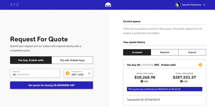 Kraken unveils fresh user interface for OTC bitcoin transactions
