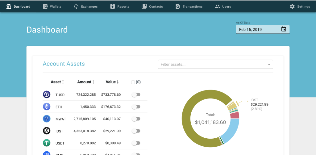 verady dashboard crypto accounting